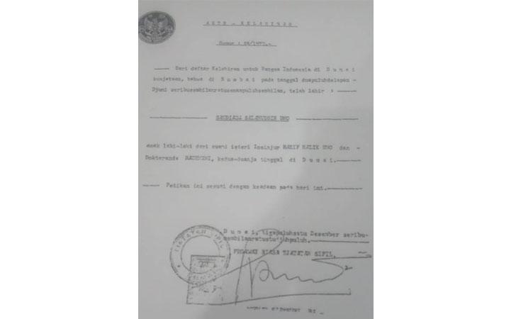 Petikan Akte Lahir Sandiaga Uno