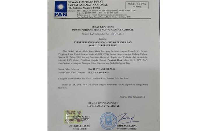 SK DPP PAN untuk Syamsuar-Edy Natar