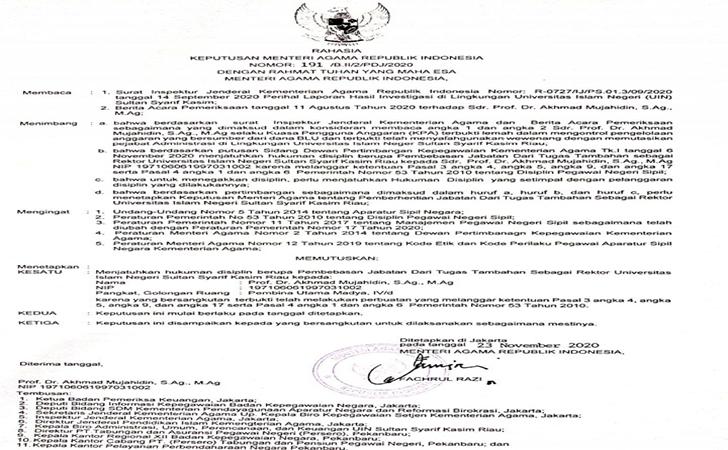 SK pemberhentian Rektor UIN Sultan Syarif Kasim