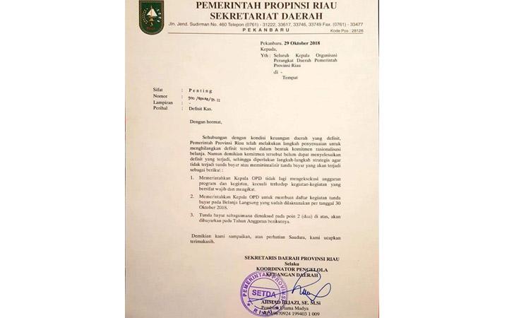 Surat Defisit Kas