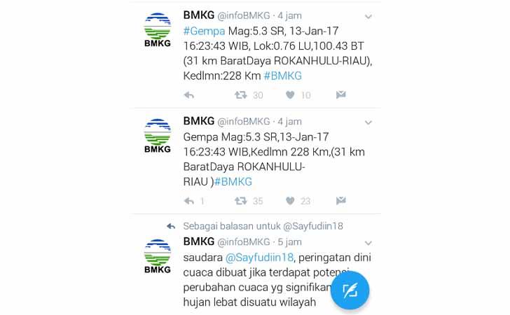 Twitter Gempa Bumi Rokan Hulu